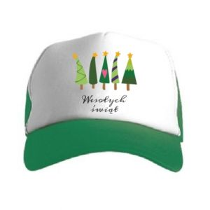 Trucker hat Five Christmas trees happy holidays