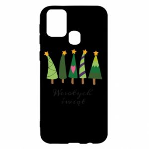 Samsung M31 Case Five Christmas trees happy holidays