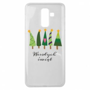 Samsung J8 2018 Case Five Christmas trees happy holidays