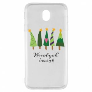Samsung J7 2017 Case Five Christmas trees happy holidays