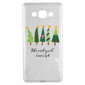 Samsung A5 2015 Case Five Christmas trees happy holidays