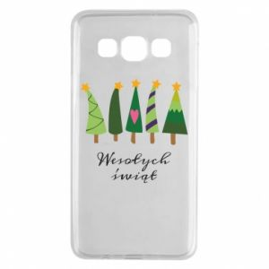 Samsung A3 2015 Case Five Christmas trees happy holidays