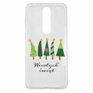 Nokia 5.1 Plus Case Five Christmas trees happy holidays