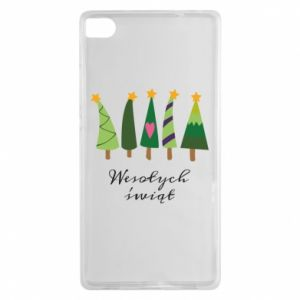 Huawei P8 Case Five Christmas trees happy holidays