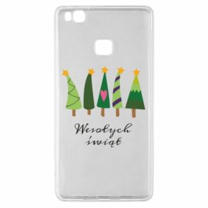 Huawei P9 Lite Case Five Christmas trees happy holidays