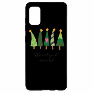Samsung A41 Case Five Christmas trees happy holidays
