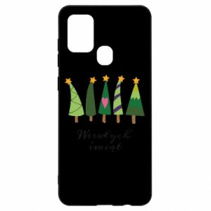 Samsung A21s Case Five Christmas trees happy holidays
