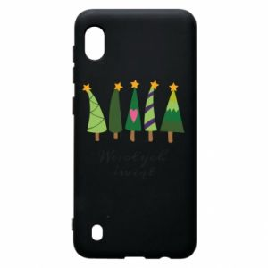 Samsung A10 Case Five Christmas trees happy holidays