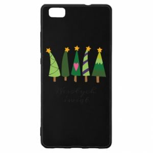 Huawei P8 Lite Case Five Christmas trees happy holidays