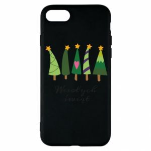 iPhone SE 2020 Case Five Christmas trees happy holidays