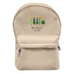 Backpack with front pocket Five Christmas trees happy holidays