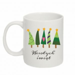 Mug 330ml Five Christmas trees happy holidays