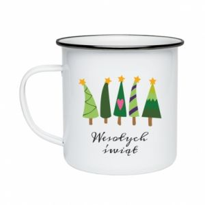 Enameled mug Five Christmas trees happy holidays