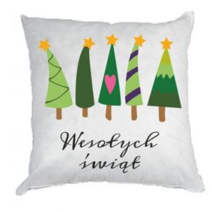 Pillow Five Christmas trees happy holidays