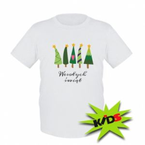 Kids T-shirt Five Christmas trees happy holidays
