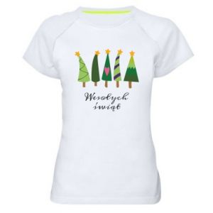 Women's sports t-shirt Five Christmas trees happy holidays