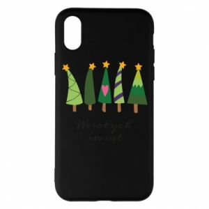 iPhone X/Xs Case Five Christmas trees happy holidays