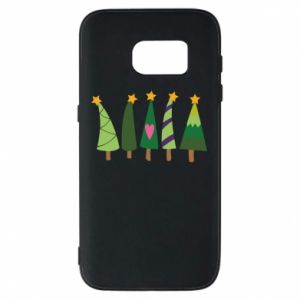Samsung S7 Case Five Christmas trees happy holidays