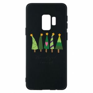 Samsung S9 Case Five Christmas trees happy holidays