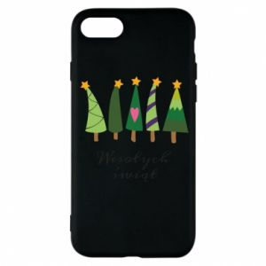 iPhone 8 Case Five Christmas trees happy holidays