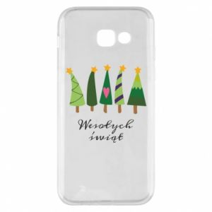 Samsung A5 2017 Case Five Christmas trees happy holidays
