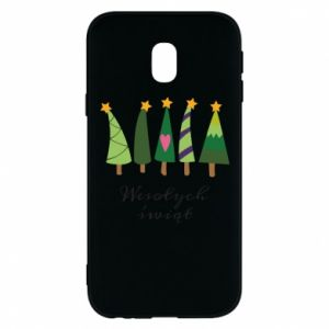 Samsung J3 2017 Case Five Christmas trees happy holidays