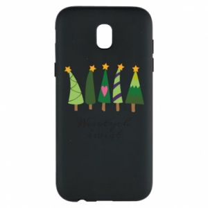 Samsung J5 2017 Case Five Christmas trees happy holidays