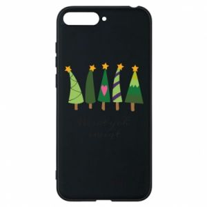 Huawei Y6 2018 Case Five Christmas trees happy holidays