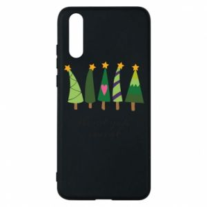 Huawei P20 Case Five Christmas trees happy holidays