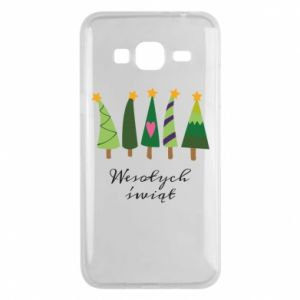 Samsung J3 2016 Case Five Christmas trees happy holidays