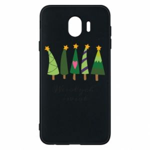 Samsung J4 Case Five Christmas trees happy holidays