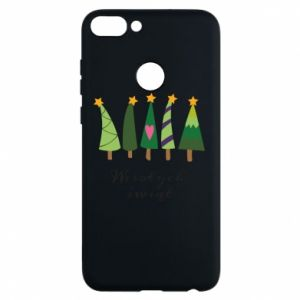 Huawei P Smart Case Five Christmas trees happy holidays