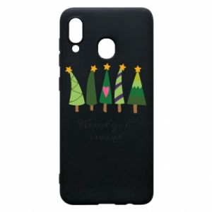 Samsung A30 Case Five Christmas trees happy holidays