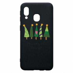 Samsung A40 Case Five Christmas trees happy holidays
