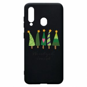 Samsung A60 Case Five Christmas trees happy holidays