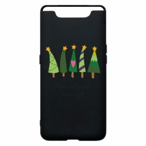 Samsung A80 Case Five Christmas trees happy holidays