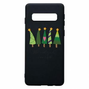 Samsung S10 Case Five Christmas trees happy holidays