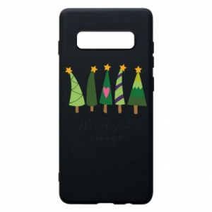 Samsung S10+ Case Five Christmas trees happy holidays