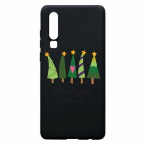 Huawei P30 Case Five Christmas trees happy holidays