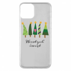 iPhone 11 Case Five Christmas trees happy holidays