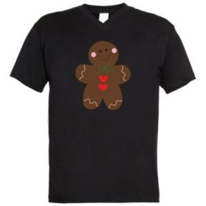 Men's V-neck t-shirt Gingerbread Man