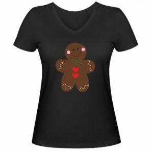 Damska koszulka V-neck Piernikowy człowiek