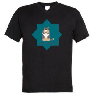 Męska koszulka V-neck Pies - PrintSalon