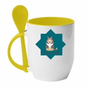 Mug with ceramic spoon Dog