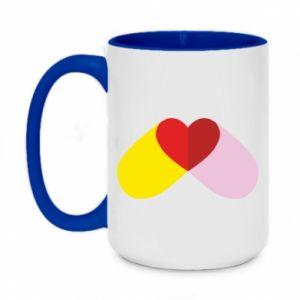 Two-toned mug 450ml Heart pill