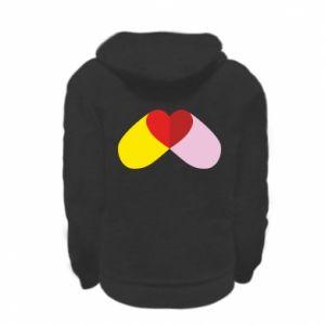 Kid's zipped hoodie % print% Heart pill