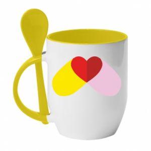 Kubek z ceramiczną łyżeczką Pigułka serca