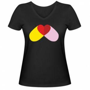 Damska koszulka V-neck Pigułka serca