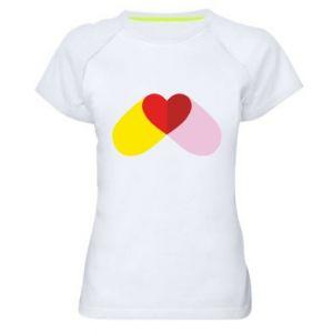 Women's sports t-shirt Heart pill