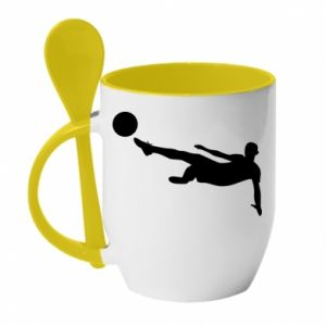 Mug with ceramic spoon Football